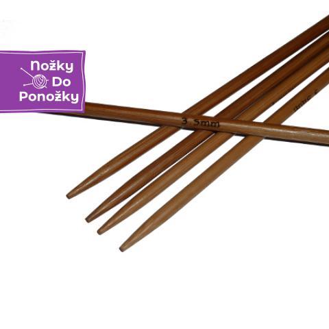 Ponožkové pletací jehlice bambusové 3,5 délka 25 cm