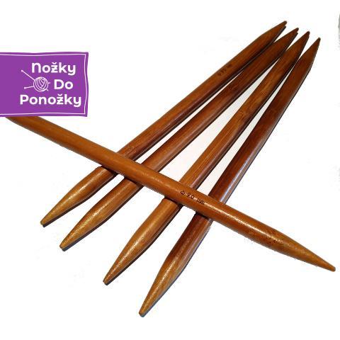 Ponožkové pletací jehlice bambusové 6,0 délka 20 cm
