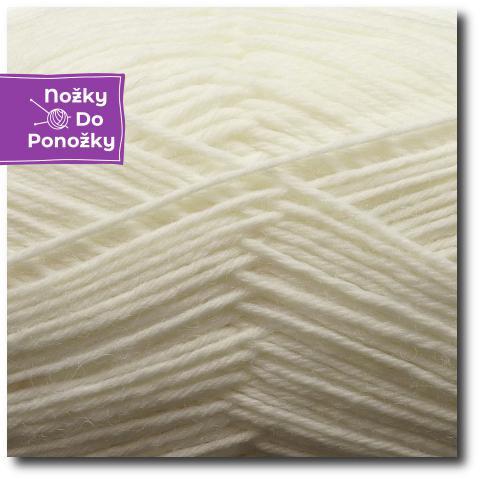 Jednobarevná ponožková příze 4-vrstvá Bílá
