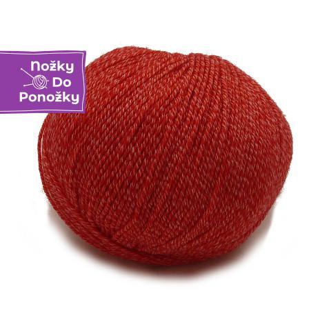 Jednobarevná ponožková příze 4-vrstvá s bavlnou Červená