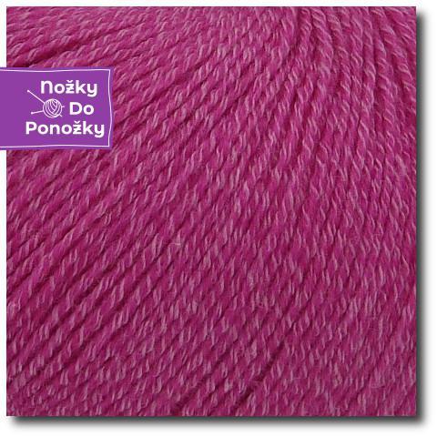 Jednobarevná ponožková příze 4-vrstvá s bavlnou Fuchsie