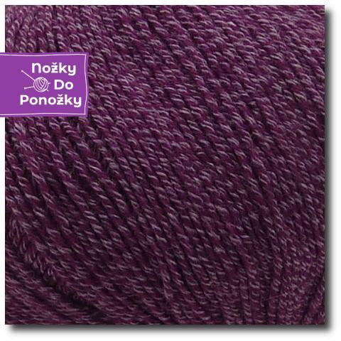 Jednobarevná ponožková příze 4-vrstvá s bavlnou Lesní ostružina