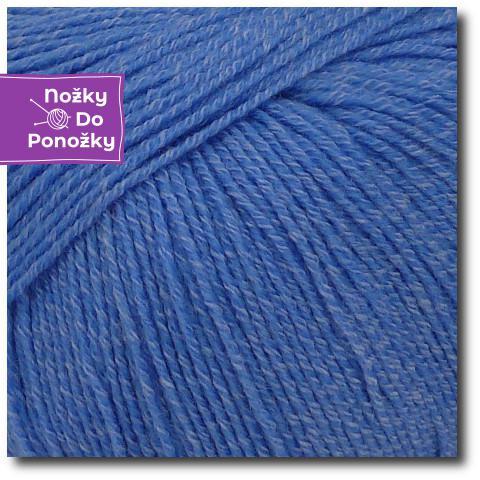 Jednobarevná ponožková příze 4-vrstvá s bavlnou Modré nebe