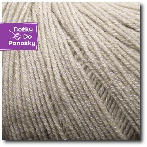 Jednobarevná ponožková příze 4-vrstvá s bavlnou Písek