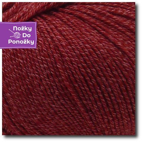 Jednobarevná ponožková příze 4-vrstvá s bavlnou Vínová