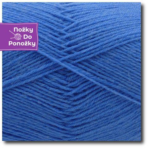 Jednobarevná ponožková příze 4-vrstvá Modrá