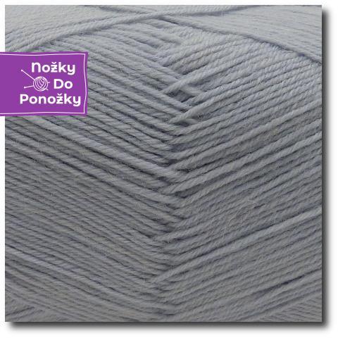 Jednobarevná ponožková příze 4-vrstvá Světle šedá