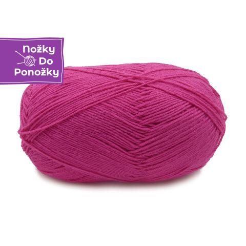Jednobarevná ponožková příze 4-vrstvá Tmavě růžová