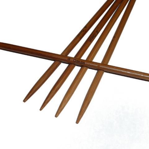 Ponožkové pletací jehlice bambusové krátké 4,0 délka 13 cm