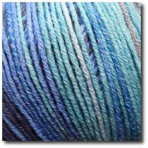 Samovzorovací velmi jemná ponožková příze 4-vrstvá s bavlnou Horské jezero
