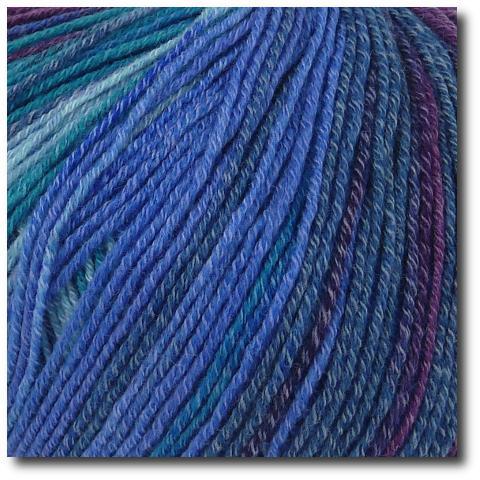 Samovzorovací velmi jemná ponožková příze 4-vrstvá s bavlnou Oceán