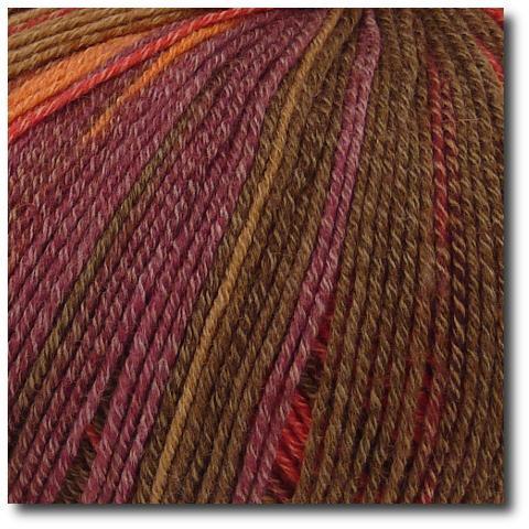 Samovzorovací velmi jemná ponožková příze 4-vrstvá s bavlnou Vínová