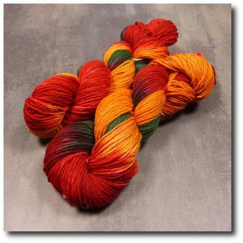 Ručně barvená příze Jeřabiny 8 vrstev